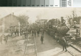 Potential land buyers arrive by train in Turlock, California, circa 1907.