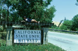 """Slide of sign on Hayward Hills campus: """"California State Univ. Hayward"""" with person lying on top of sign reading."""