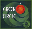 "Crate label, ""Green Circle."" Packed by McDermont Fruit Company, Riverside, California."