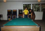 Slide of pool table installation in University Union