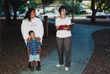 Citrus Alumni Association scholarship winner, Yolanda Jauregui, and Joyce Dill, Finkbiner Park, Glendora, July 16, 1996