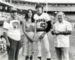 Miss Angels 1980 Tina Baca with councilmembers at Angels Stadium