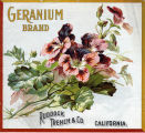 "Crate label, ""Geranium Brand."" Ruddock Trench & Co., Riverside, Calif."