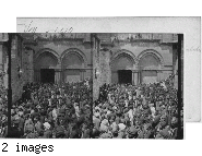Pilgrims carrying Holy Fire from the Holy Sepulchre, Jerusalem, Palestine.