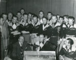 Bob Hope with group of entertainers during radio broadcast at the Banning Theatre in Banning, California