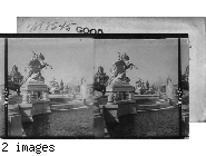 Beautiful statuary and fountains at the foot of the Cascades, Tower of Machinery Building in distance.  Louisiana Purchase Exposition.