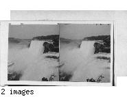 Luna Falls and Island and the American Falls from Goat Island, Niagara.  New York.