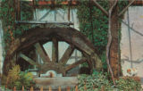 postcard of replica of the original water wheel at the Thomas WInery