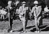 Photograph of Norma Schmitz, President Norma Rees, and Maureen Cassingham at the groundbreaking of the University Bookstore.