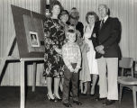 A photograph of Floyd R. Erickson and family (presumed) at the dedication of the Floyd R. Erickson Special Collections Room