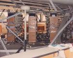 Earthquake damage to library shelves