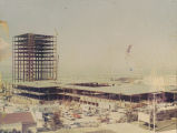 Photograph of the construction of the Library and Administration buildings.