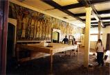 48 foot long El Dia del 1938 Mercado mural being prepared for removal from La Avenida Cafe, Coronado,