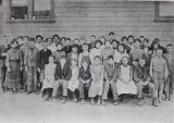 Photograph of school children outside Fountain Valley School