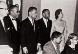 Installation of officers, NAACP Oxnard-Ventura Branch : 1963 ; back row L to R: John Flynn, Fred Jones, Pres., Bert Hammond, Albert Duff, Treas., Jan Kelsey ; seated L to R: Assemblyman Mervyn Dymally, May Davis, Secretary.