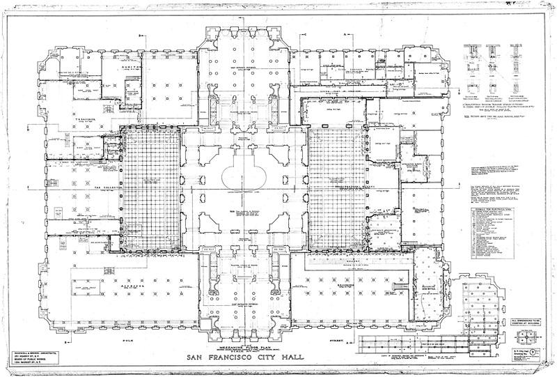 Mezzanine Floor Plan San Francisco City Hall Drawing No 9