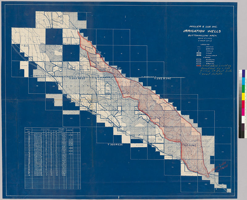 Miller And Lux, Inc., Irrigation Wells, Buttonwillow Area (blueprint Map).