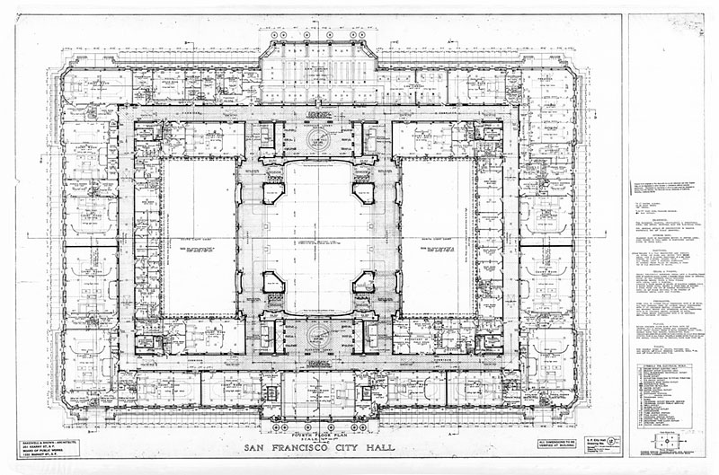 Fourth Floor Plan San Francisco City Hall Drawing No 12